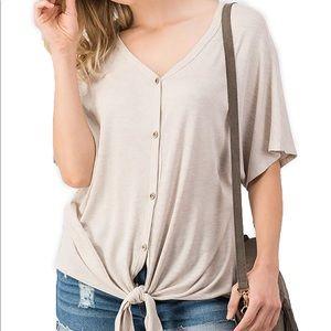 Button down knit top
